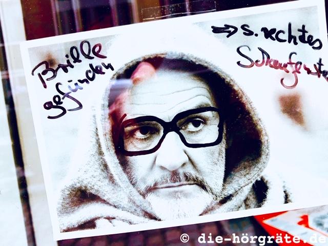"""""""Brille gefunden"""" Schild"""