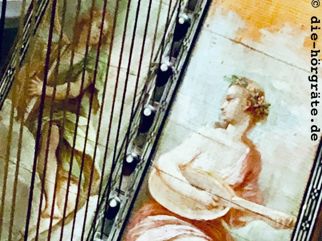 Bild auf einer Harfe