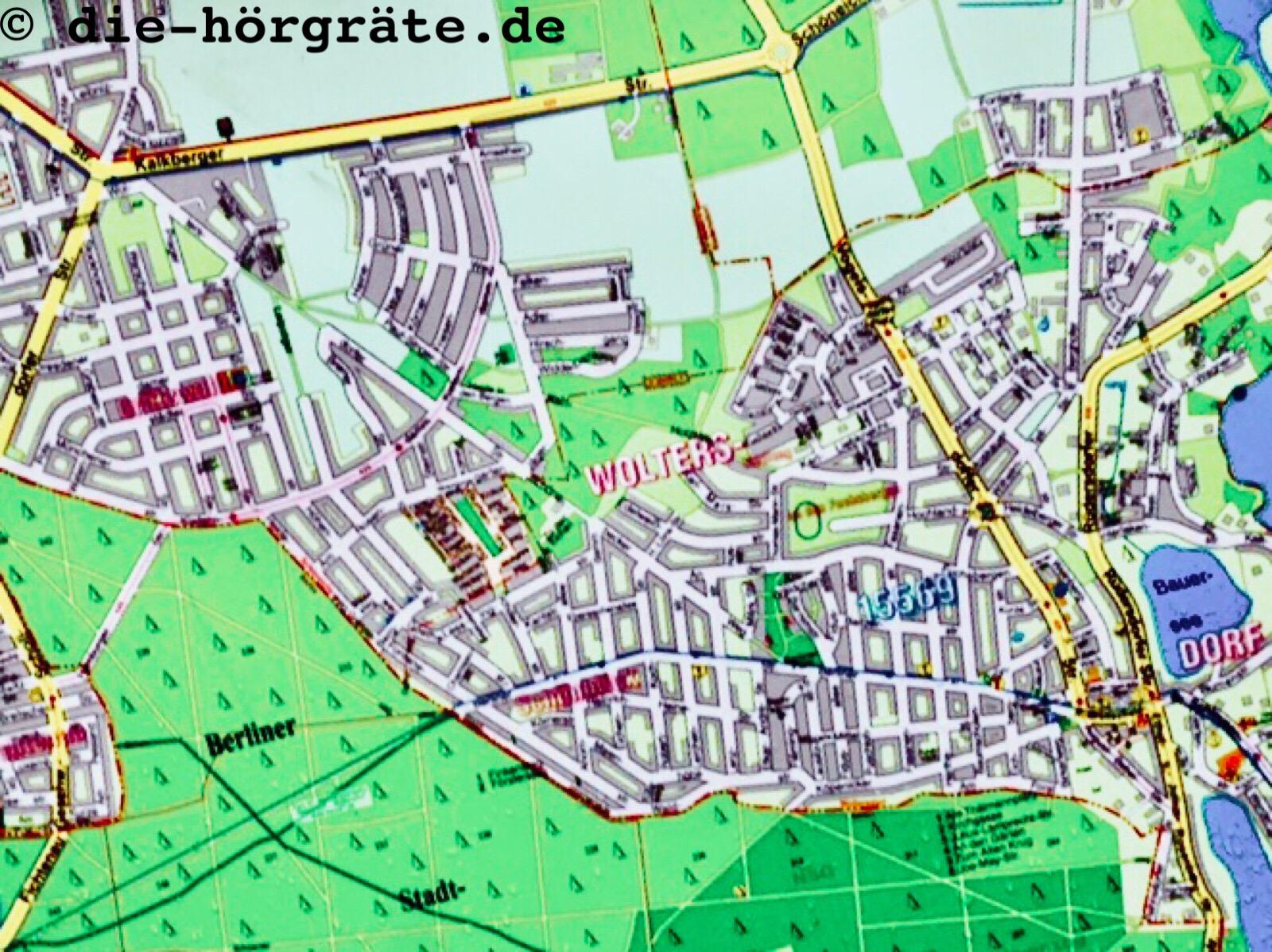 Ausschnitt einer Wanderkarte von Woltersdorf