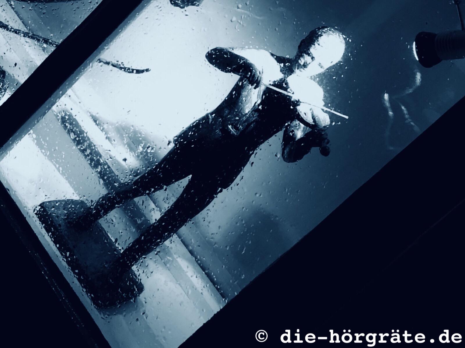 die Plastik eines kleinen Geigers, der halb im Schatten hinter einem Fenster steht und von einem Spot angestrahlt wird, auf der Fensterscheibe sind Regentropfen