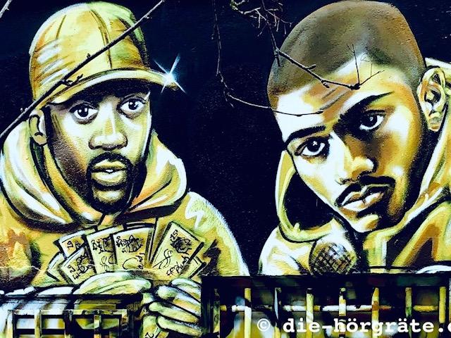 Graffito, zwei Rapper - Beitrag über die Wirkung des Sprechens