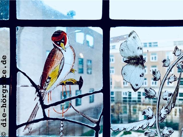Bleiglasmalerei Vogel und Schmetterling